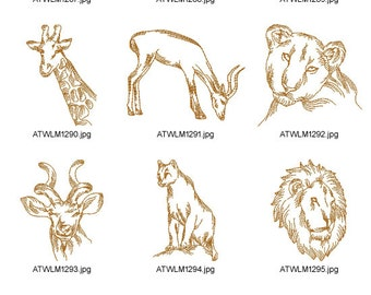 Wild-African-Animals. ( 10 Machine Embroidery Designs from ATW )