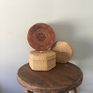 Set of Boho Vintage Woven Storage Baskets, Straw Containers, Nesting Baskets, Lidded