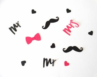 Wedding Confetti, mustache bow confetti, Mr and Mrs confetti, anniversary party