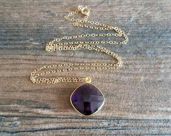 Amethyst Necklace, Purple Amethyst Quartz Necklace, Amethyst Pendant, February Birthstone, Cushion Cut Amethyst Necklace