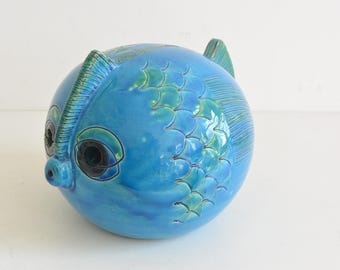Bitossi Fish figurine by Aldo Londi figure rimini blue Italy Blow Fish Pufferfish raymor gambone Money Box