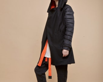 NEW! Wool puffy sleeves jacket - XL hoodie jacket - wrap jacket - oversize black jacket - black winter coat - black coat with pockets