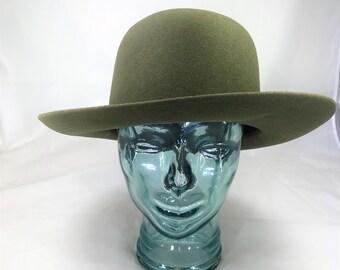 Beautiful Vintage Sage Green Wool Felt Hat Designed for Right Impression by Bill Horsman EU Size 59.  UK Size 7 1/4. US Size 7 3/8.