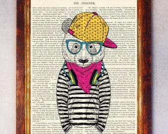 Male Bear Art Print, Bear Wall Art, Book Art Bear Print, Animal Print, Bear Artwork, Bear Poster, Bear Digital Print, Digital Download