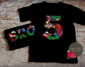 Avengers Number  T shirt for Boys, super hero birthday shirt