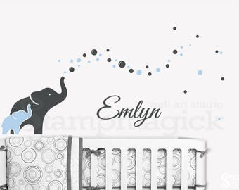 Elephants Wall Decal for Nursery with Blowing Bubbles & Baby Boy Name - vinyl wall decor art baby room sticker bedroom - K364W