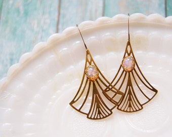 deco brass laser cut dangle earrings with vintage opal glass stone accent