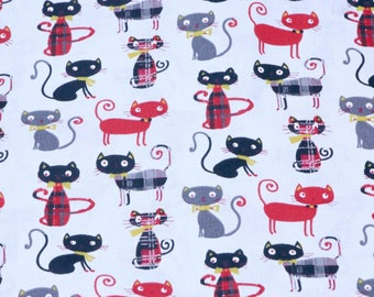 Black red cat print, cat fabric, cotton fabric, extra wide fabric, dress fabric, quilt fabric, fabric by metre, craft fabric, woven fabric