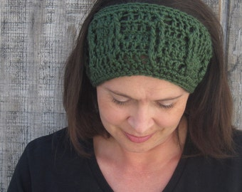 Cabled crochet headband, headwrap, ear warmer - forest green - crochet accessories Winter Fashion handmade Salutations Crochet