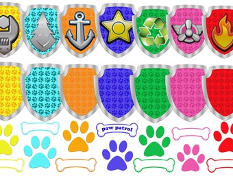 Personalized Paw Patrol Clipart , 28 Paw Patrol Clip Art Iron On Transfers, Png file Format, Transparent Backgrounds. Digital download