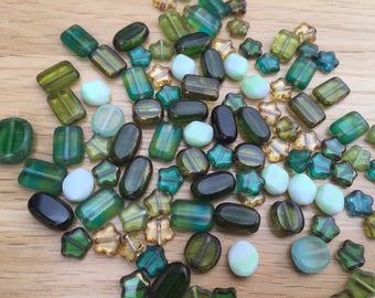 Jewellery Making Czech Pressed Flat Glass Bead Mix - Earth Tones/Greens & Golds - 50g