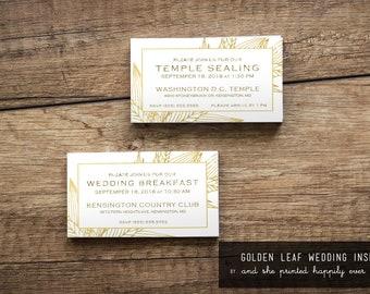 Wedding Breakfast, Lunch or Dinner Insert {Golden Leaves}