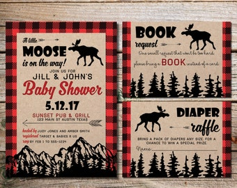 Moose Baby Shower Invitation    Baby Moose Shower   Rustic Baby Shower   Invites   Little Moose Shower   Red Plaid Wilderness   Hunting Baby