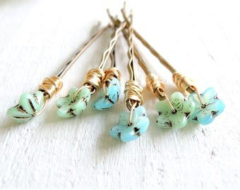 Wildflower Decorative Bobby Pins Forget Me Not Blue Bohemian Wedding Hair Accessory Wire Wrapped Glass Flower Hair Pins Pastel Blue Green