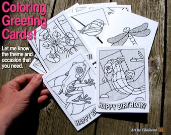 Coloring Greeting Card- Small- Get Well or other theme- Blank interior Card- Birthday Card- Anniversary Card- Original Card for colouring-
