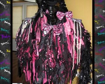 Pink & Black Fringe bag,Fringe Handbag,Huge fringe Tote,upcycled handbag,Custom made Purse,Funky,Unique,one of a kind