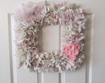 "Pink and Green Rag Wreath, Rustic Wreath , Rustic Decor, Rustic Wedding Square 18"""