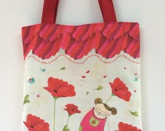 "Tote bag ""poppies"" - library bag"