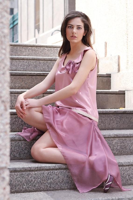 Rosa Brautjungfer Kleid 20er Jahre Stil Tropfen Taille