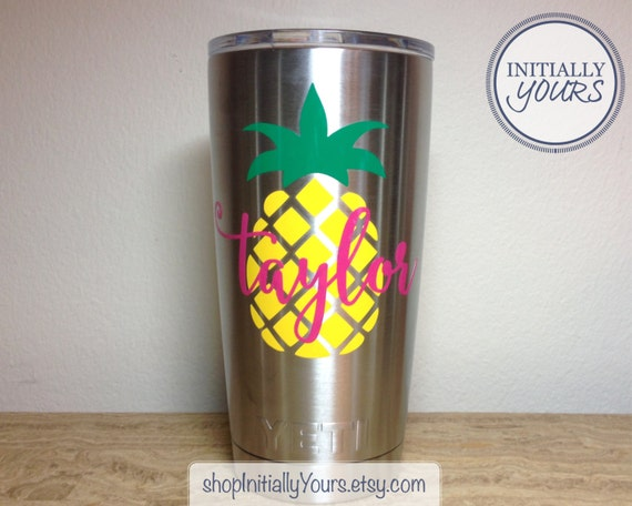 Personalized pineapple decal for yeti 20oz yeti pineapple vinyl decal yeti tumbler decal yeti cup sticker 20oz yeti rambler decal from