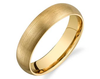 14k Yellow Gold Band (5mm) | PLAIN | Matte Brushed Rounded Dome + Comfort Fit | Men's Women's Wedding Ring