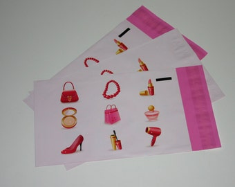 50 6x9 Poly Mailers Pink Make Up Designer Series Self Sealing Envelopes Shipping Bags