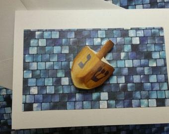 Dreidel Card Hanukkah (blank)/Blue tile/Chanukah/Nes Gadol Haya Shem