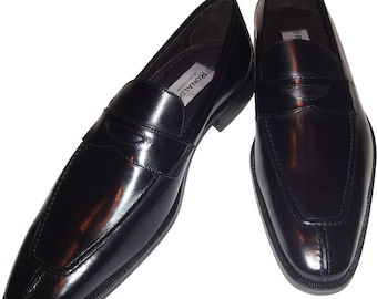 Men's Ronaldo Handmade Solid Black Italian Leather Loafer Slip On Dress Shoe