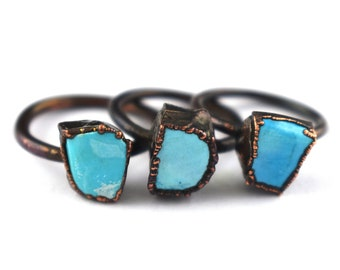 Turquoise Gemstone Ring,Electroplated Ring,Gemstone Ring,Oxidized Ring,Women Ring,Gift For Her GFS2043