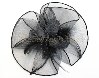 Black Headpiece 8 inches, Flower Fascinator, Feather Headpiece, Flower Fascinator, Feather Fascinator, With Hair Clip and Brooch Pin Back