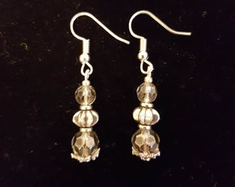 Smokey Crystal and Silver Drop Earrings