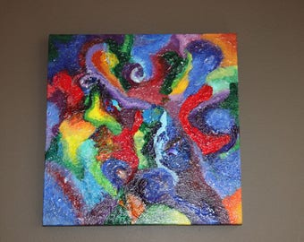 "12x12 ""Vibrant Chaos"" - Textured and colorful wall art"