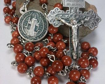 Handmade Goldstone Rosary with Pardon Crucifix