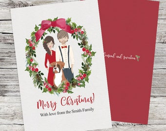 Custom portrait Christmas Card Personalized greeting card. Printable holiday card. Family portrait card. Family drawing.