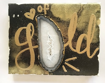 Heart of gold agate art on canvas