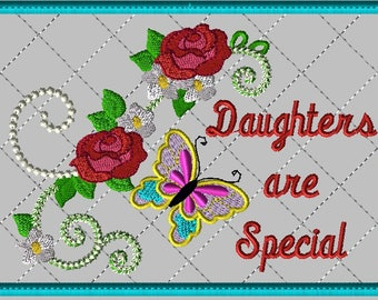 """Machine Embroidery Design-ITH-Mug Rug-""""Daughters are Special"""" with Butterfly and Roses includes 2 sizes"""
