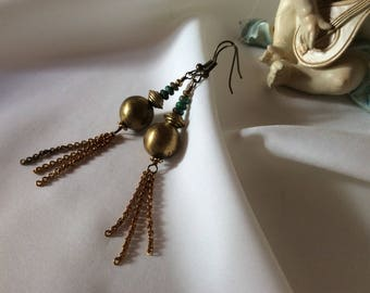 African Brass and Turquoise Earrings