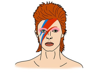 David Bowie Art Print | Ziggy Stardust | Music Lyrics | Illustration | Art Drawing | Wall Art | Bowie Print