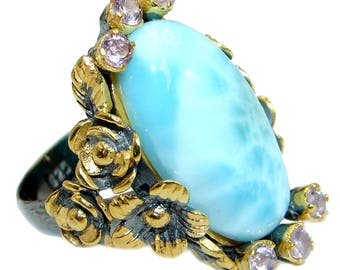 Larimar, Pink Amethyst Sterling Silver Ring - weight 13.80g - Size 8 - dim L- 1 3 4, W- 5 8, T - 3 8 inch - code 2-lut-18-20