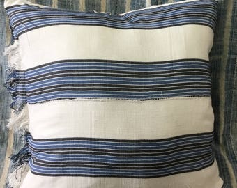 Vintage indigo stripes pillow