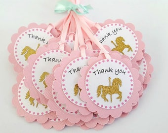 Carousel horse birthday party favor Thank you tags in pink and gold. Carousel party, baby shower, bridal shower, carnival..
