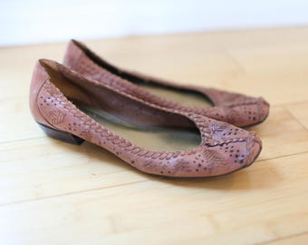 vintage woven brown leather wedge flats womens 7