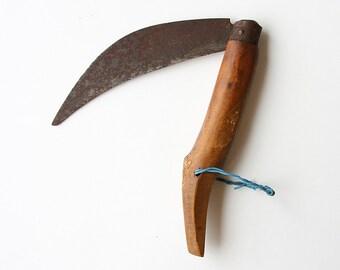 Antique large farmer knife Handmade Turkish pocket knife Pruning knife Farm tool Vintage Saw tooth knife Cragsman Blade Traditional tool