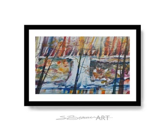 Autumn Fall Watercolor Print, Autumn Art, Cabin Art, Large Painting, Large Wall Art, Fall Art, Abstract Painting, Fall Decor, Autumn Leaves