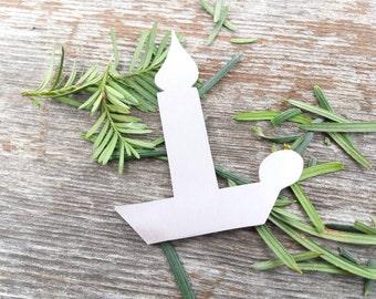 Candlestick ornament, Candlestick Christmas Ornament, candlestick blank, hand stamping blank, custom stamping blank, hand stamping, QTY 5