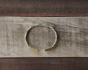 Gold Camo Bullet Casing Bracelet recycled .22lr casings paracord wire BRZN