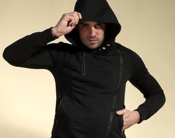 "Black jacket man, jacket trend, tendency jacket, jacket with hood "" MATRIX-NEO """