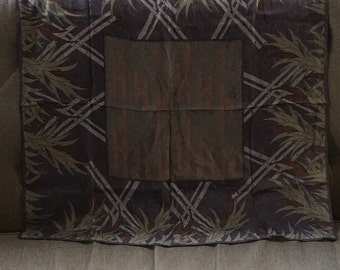 Silk Anne Klein Scarf Asian Style with bamboo in  sophisticated shades if mauves, celidon, brown and beige.
