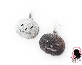 Black Glitter Acrylic Pumpkin Earrings, Black Glitter Acrylic Pumpkin Earrings, Laser Cut Pumpkin Earrings, Black Glitter Pumpkin Earrings