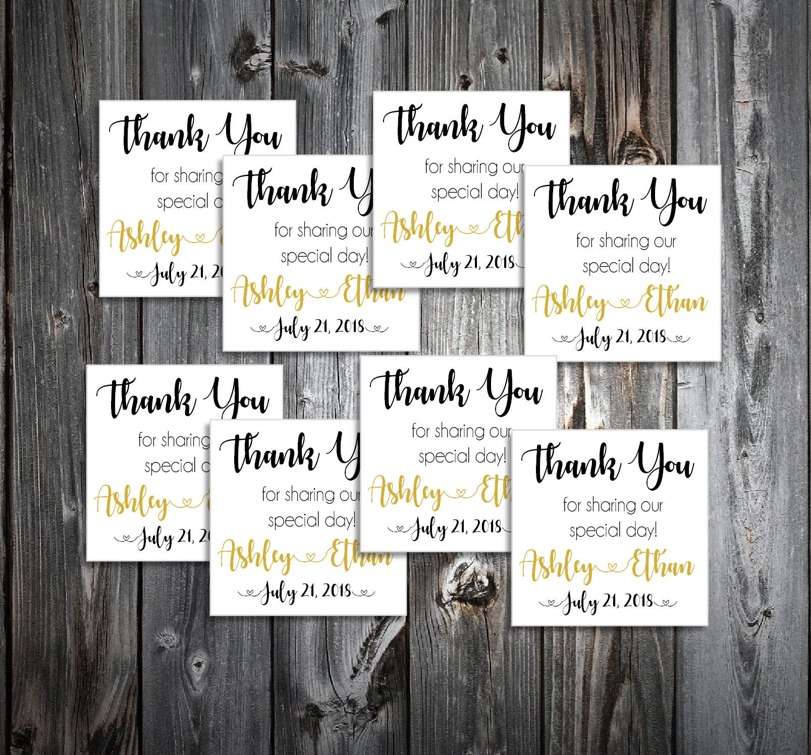 150 Black and Gold Wedding Favor Stickers. Personalized printed ...